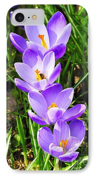 Honeybee Working Crocus Phone Case by Thomas R Fletcher