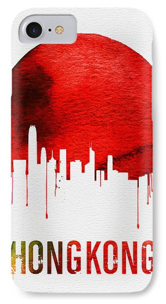 Hong Kong Skyline Red IPhone 7 Case by Naxart Studio