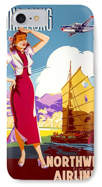Hong Kong Vintage Travel Poster Restored IPhone Case