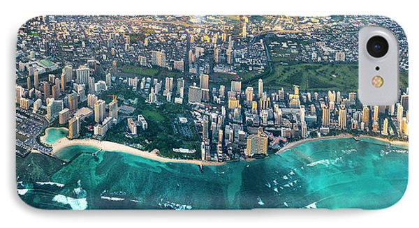 Honolulu From High IPhone Case by Sean Davey