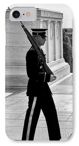 honor guard tomb guard sentinel at the tomb of the unknowns arlington cemetery Washington DC USA IPhone Case by Joe Fox