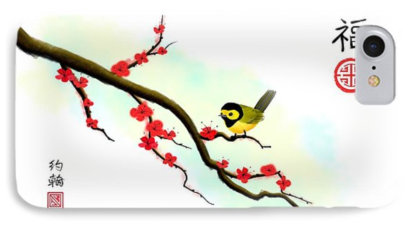 Hooded Warbler Prosperity Asian Art IPhone Case by John Wills