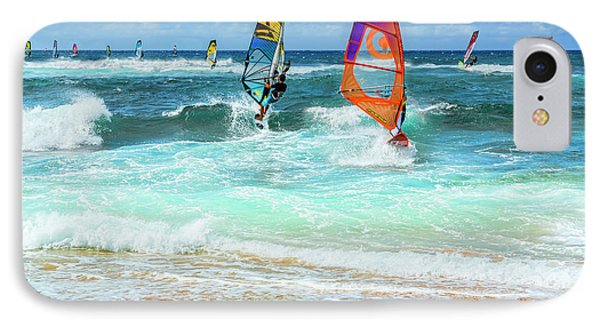 Ho'okipa Beach Wind Surfers IPhone Case