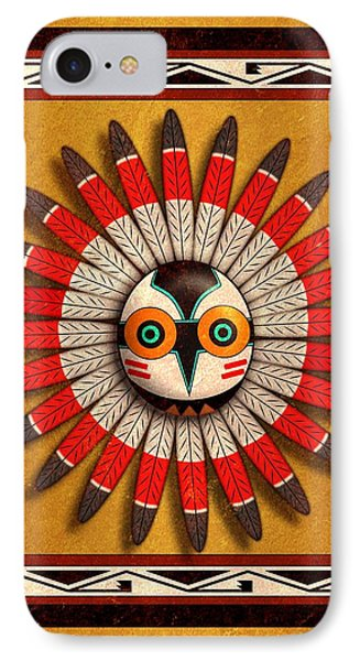 IPhone Case featuring the digital art Hopi Owl Mask by John Wills
