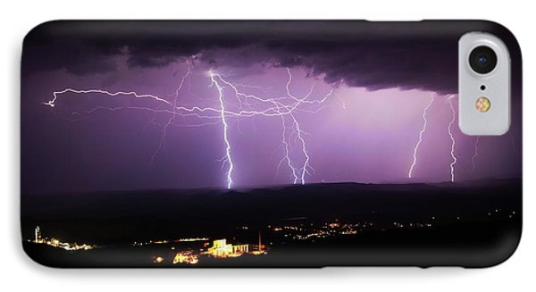 IPhone Case featuring the photograph Horizontal And Vertical Lightning by Ron Chilston