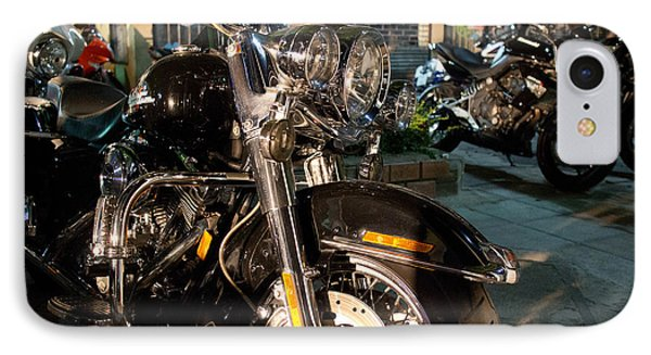 IPhone Case featuring the photograph Horizontal Front View Of Fat Cruiser Motorcycle With Chrome Fork by Jason Rosette