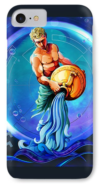 Horoscope Signs-aquarius IPhone Case by Bedros Awak