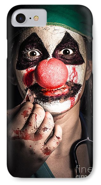 Horror Clown Girl In Silence With Stitched Lips IPhone Case by Jorgo Photography - Wall Art Gallery