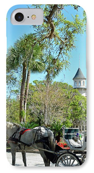 Horse And Carriage At Jekyll Island Club Hotel IPhone Case by Bruce Gourley