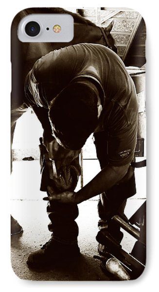 IPhone Case featuring the photograph Horse And Farrier by Angela Rath