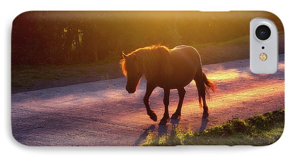 Horse iPhone 7 Case - Horse Crossing The Road At Sunset by Mikel Martinez de Osaba