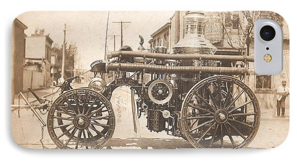 Horse Drawn Fire Engine 1910 IPhone Case by Virginia Coyle