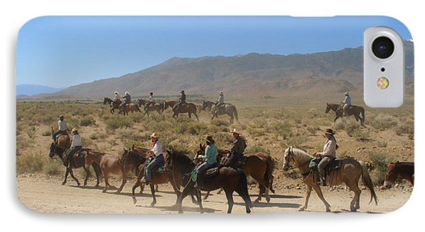 Horse Drive From June Lake To Bishop California Phone Case by Christine Till