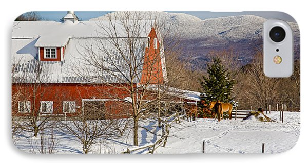 Horse Farm And Mount Mansfield Phone Case by Susan Cole Kelly