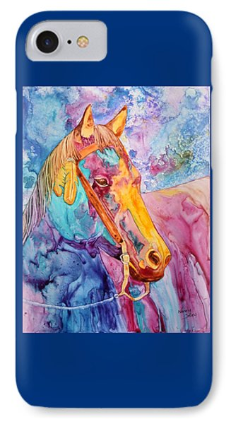 Horse Of Many Colors IPhone Case by Nancy Jolley