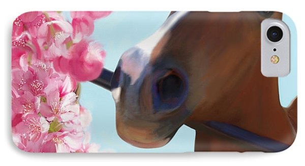 Horse Pink Blossoms IPhone Case