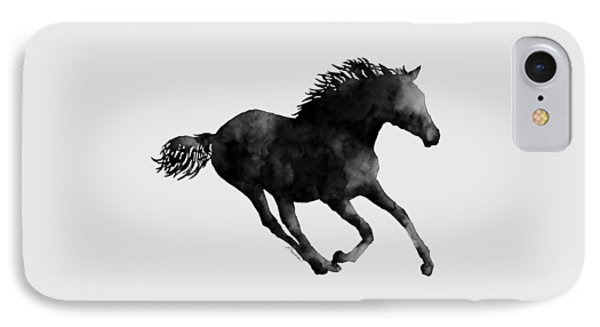 Horse Running In Black And White IPhone Case