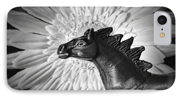 Horse Startled By A Daisy IPhone Case by Jeff  Gettis