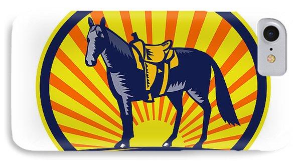 Horse Western Saddle Oval Woodcut IPhone Case