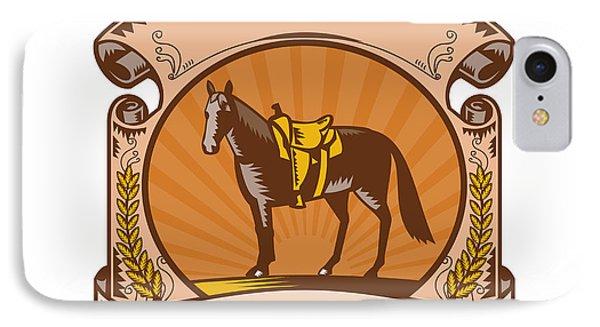 Horse Western Saddle Scroll Woodcut IPhone Case by Aloysius Patrimonio