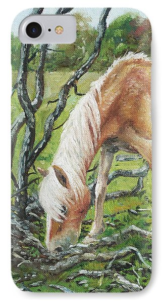 IPhone Case featuring the painting Horse With Burnt Tree by Martin Davey