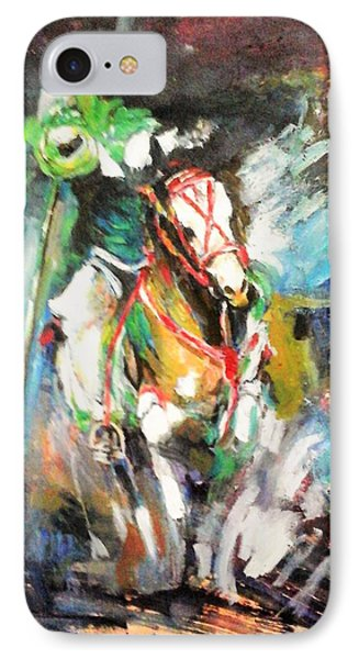Horse,horseman And The Target IPhone Case by Khalid Saeed