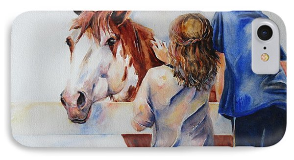 Horses And Children Painting Phone Case by Maria's Watercolor