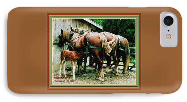Horses At The Barn H A With Decorative Ornate Printed Frame. IPhone Case by Gert J Rheeders