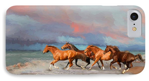 Horses At The Beach IPhone Case by Mim White