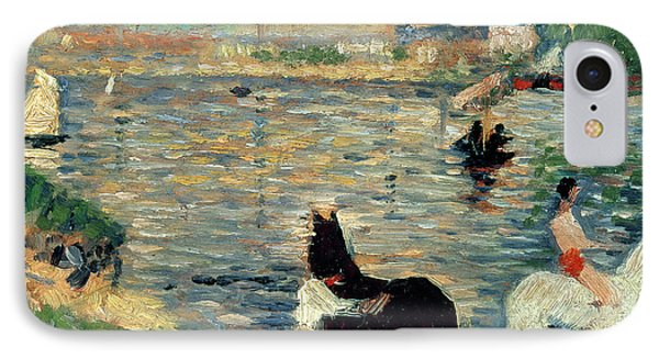 Horses In A River IPhone Case by Georges Pierre Seurat