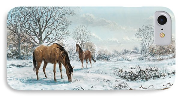 IPhone Case featuring the digital art Horses In Countryside Snow by Martin Davey