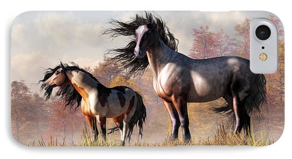 Horses In Fall IPhone Case by Daniel Eskridge