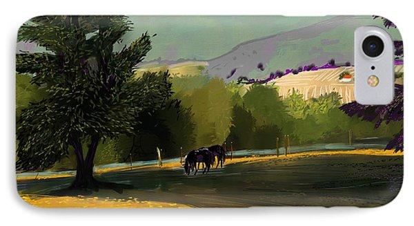 Horses In Field IPhone Case by Debra Baldwin