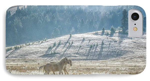Horses In The Frost IPhone Case by Keith Boone