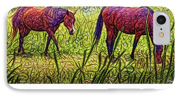 Horses In Tranquil Field IPhone Case by Joel Bruce Wallach