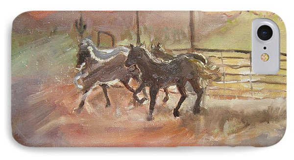 IPhone Case featuring the painting Horses by Julie Todd-Cundiff