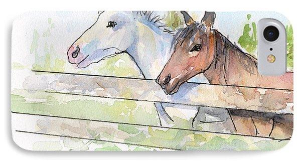 Horse iPhone 7 Case - Horses Watercolor Sketch by Olga Shvartsur