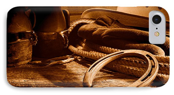 Horseshoe And Cowboy Gear - Sepia IPhone Case by Olivier Le Queinec