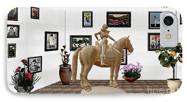 Virtual Exhibition -statue Of Horsewoman 12 IPhone Case by Pemaro