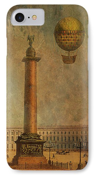 IPhone Case featuring the digital art Hot Air Balloon Over St Petersburg And The Hermitage by Jeff Burgess