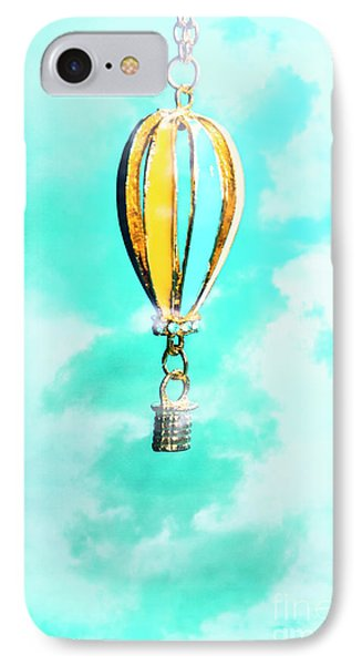 Hot Air Balloon Pendant Over Cloudy Background IPhone Case
