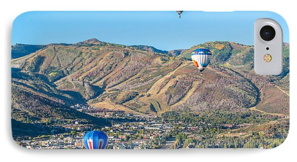 Hot Air Balloons Over Park City In Autumn IPhone Case by James Udall