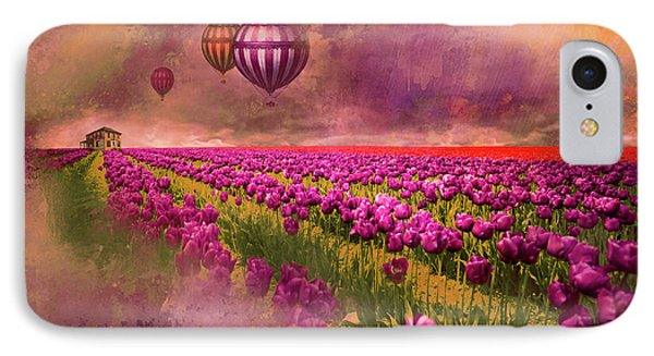 IPhone Case featuring the photograph Hot Air Balloons Over Tulip Fields by Jeff Burgess