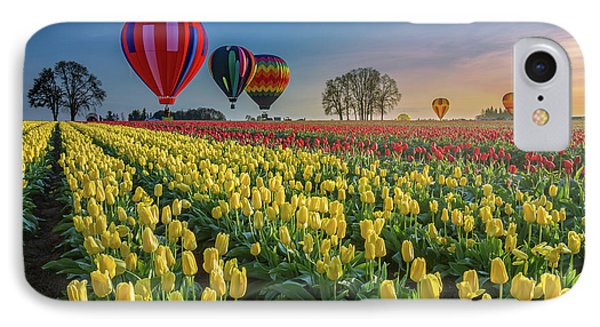 Hot Air Balloons Over Tulip Fields IPhone Case by William Lee