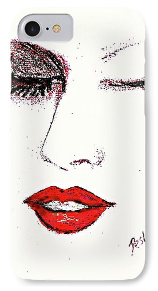 IPhone Case featuring the pastel Hot Lips by Desline Vitto