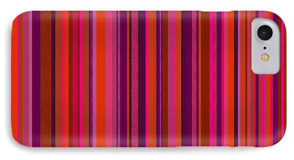 Hot Pink And Orange Stripes IPhone Case by Val Arie