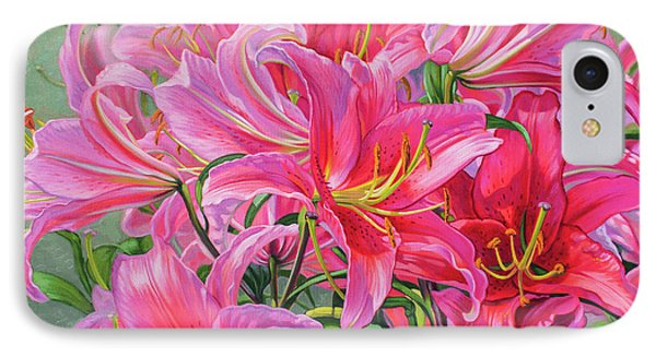 Hot Pink Asiatic Lilies IPhone Case by Fiona Craig