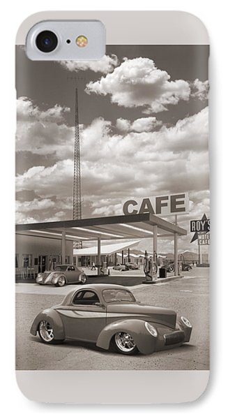 Hot Rods At Roy's Gas Station Sepia IPhone Case by Mike McGlothlen