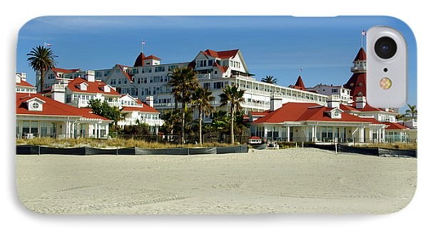 Hotel Del Coronado Beach IPhone Case by Jeff Lowe