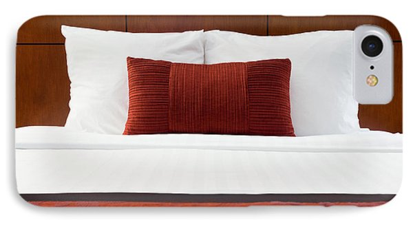 Hotel Room Bed And Pillows IPhone Case by Paul Velgos